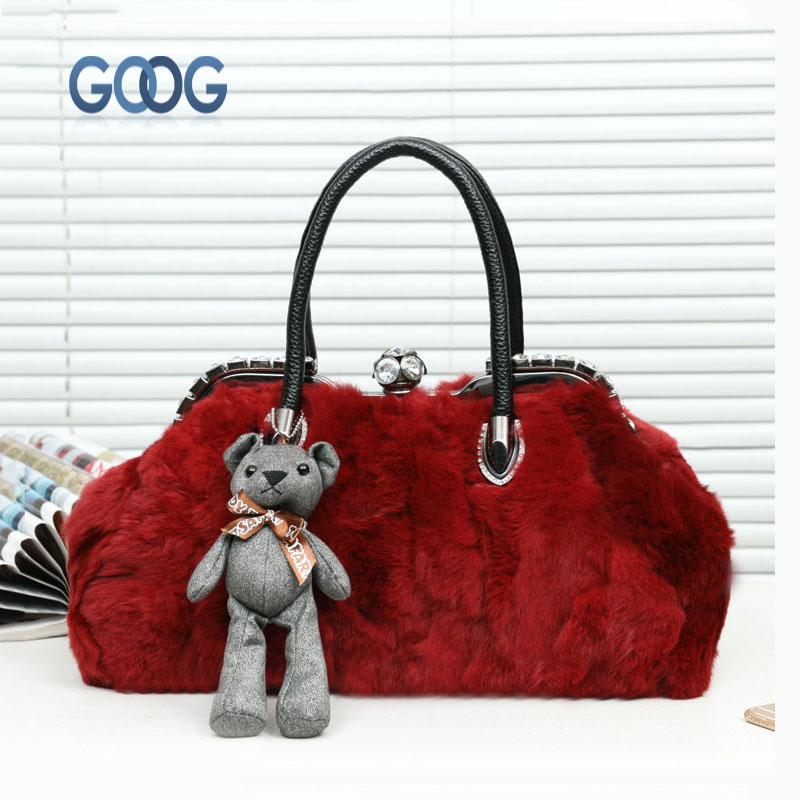 Winter new fur bag font b shell b font type female package European and American diamond