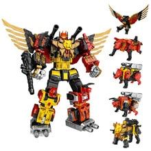 цена на WJ Transformation Toys Assembled Action Figure Dinosaur Rangers Megazord Deformation Robot 8652