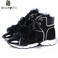 Prova Perfetto Genuine Leather Mix Rabbit Fur Leisure Style Snow Boots Women Short Plush In Warming Comfortable Flat Campus Shoe