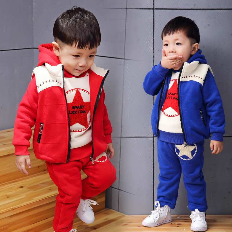 2016 New cotton Toddlers children baby boys girls winter 3pcs clothing set suits Pattern kids hoody