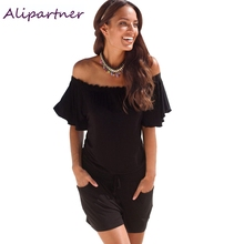 elegant jumpsuit 2017 casual rompers Women overalls summer solid Off shoulder sexy  Playsuit Bodycon Clubwear B2