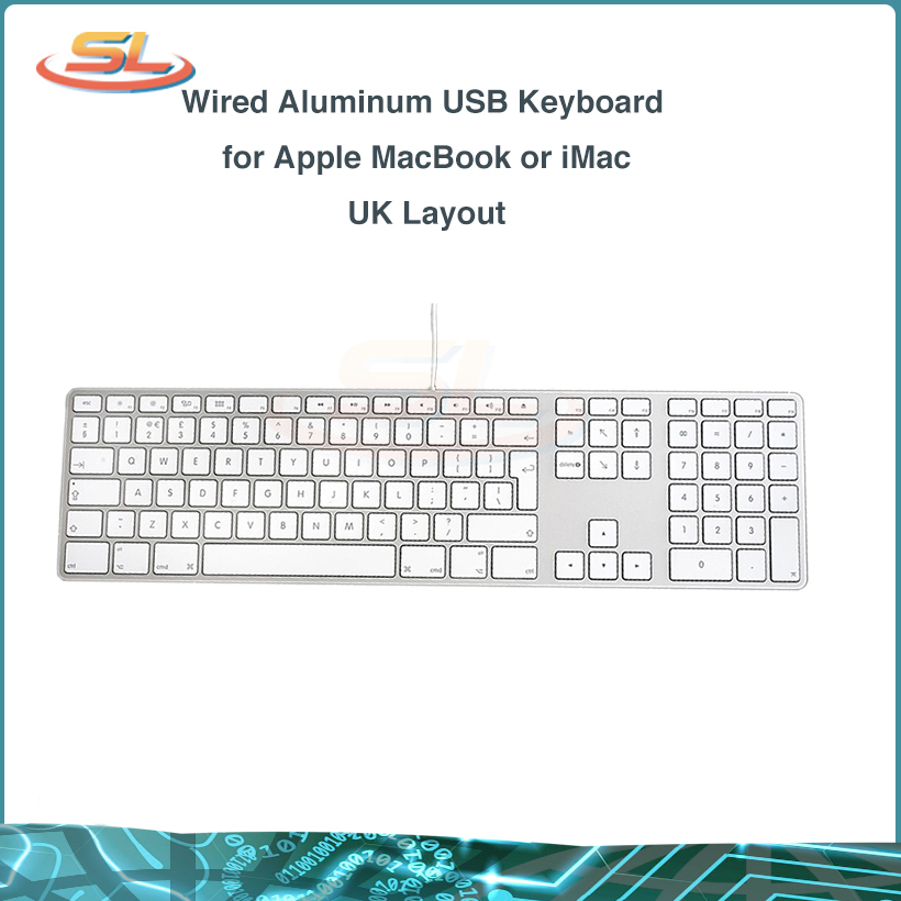 Aluminum Wired USB A1243 Keyboard with 10 Key Numeric Keypad MB110LL/A for All iMac or MacBook Pro with USB ports image