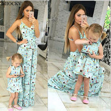 Mother daughter dresses Sleeveless Floral Dress and clothes Mom dress Family Matching Clothes E07