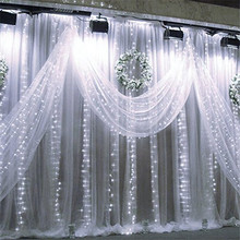2016 3Mx3M 300LEDs Party Christmas Xmas String Fairy Wedding Background LED Curtain Lights Lighting With 8 Modes Controller