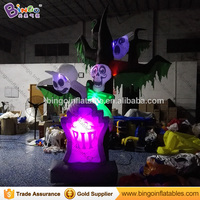 Customized Halloween 3 Meters tall inflatable tombstone dead tree LED lighting blow up halloween models for display toys