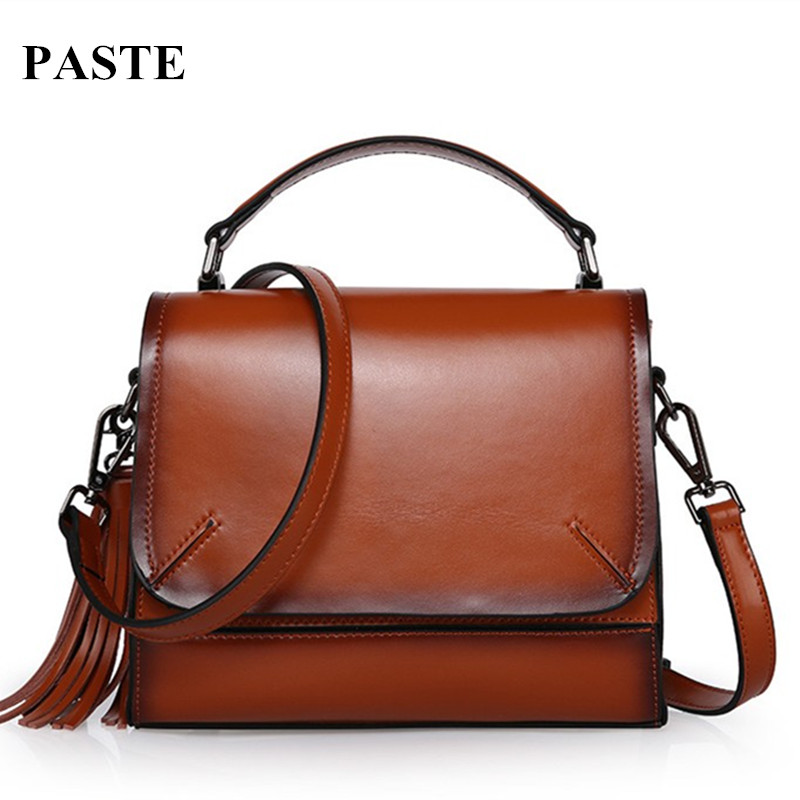 2017 New Retro Cow Leather all-match Crossbody bag Handbags Summer Fashion Tassel Motorcycle bag Women's Shoulder Messenger Bags new style messenger bag men leather top grade all match hasp fashion retro cow leather men bag solid color small shoulder bags