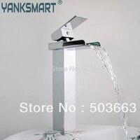 Novel Design Wholesale New Bathroom Basin Sink Waterfall Faucet Mixer Tap Chrome Vanity Cranes S 903
