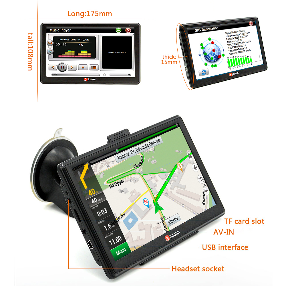 Aliexpress Com Buy Junsun  Inch Hd Car Gps Navigation Fm Bluetooth Avin Map Free Upgrade Navitel Europe Sat Nav Truck Gps Navigators Automobile From