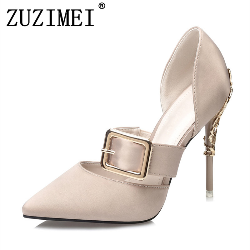 2018 Brand high heels Mary Janes women pumps Fashion pointed toe metal buckle wedding shoes Spring Summer OL shoes Woman ekoak new 2018 handmade women pumps party wedding shoes woman fashion super high heels platform shoes mary janes women shoes