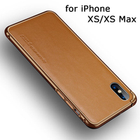 Aluminum Alloy Bumper for iPhone XS Case Genuine Leather Back Skin Cover for iPhone XS Max Free Tempered Glass Screen Protector