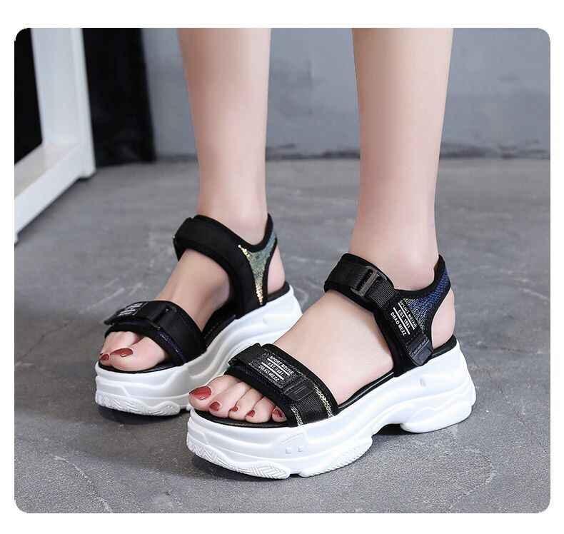 Nóng Cao Gót 6 CM Giày Sandal Nữ Mùa Hè 2019 Phụ Nữ Đáy Dày Giày Đế Xuồng Hở Mũi Đế Dày Giày Tăng giày