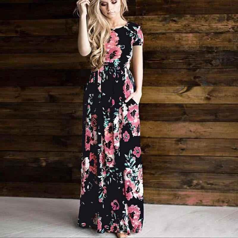 6dddd0bf48b7 Vestidos con estampado Floral para mujer 2019 Boho verano playa vestido  largo talla grande noche Fiesta Club