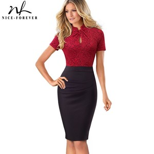Image 1 - Nice forever Vintage Contrast Color Patchwork Wear to Work Knot vestidos Bodycon Office Business Sheath Women Dress B430