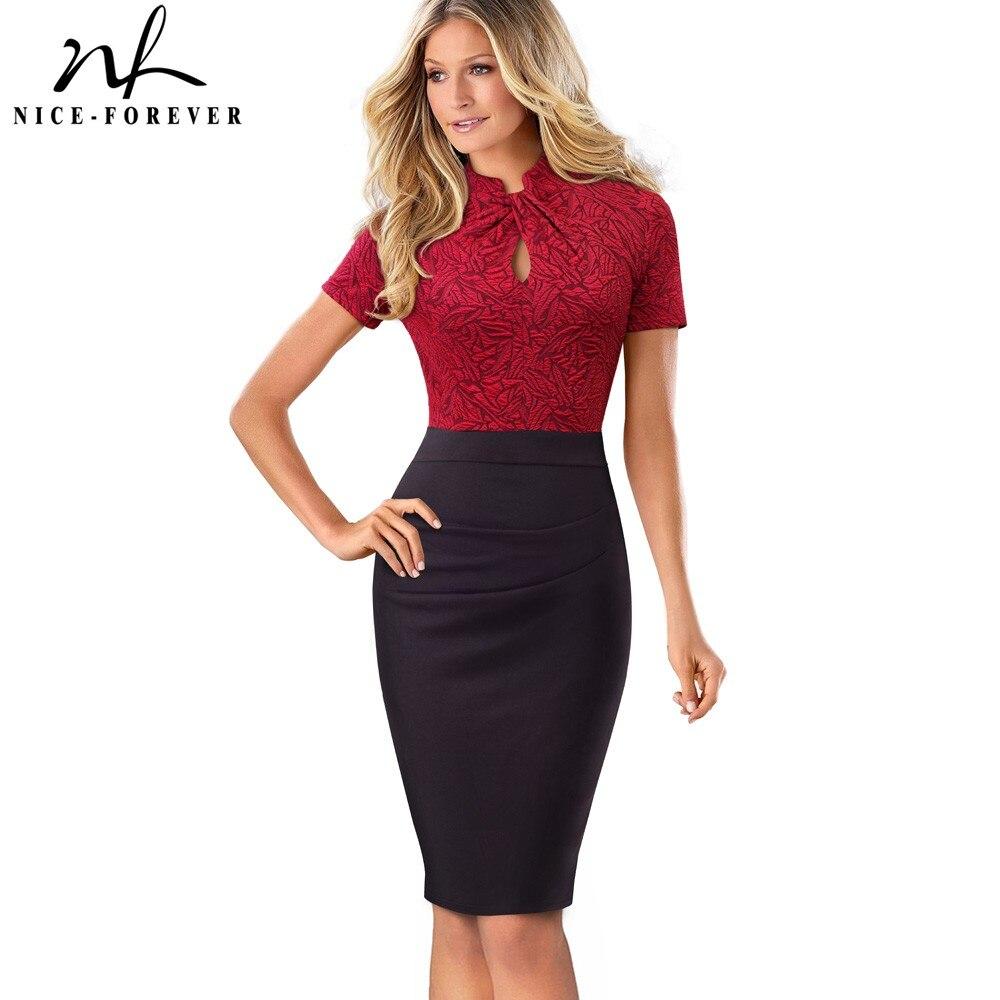 Nizza-für immer Vintage Kontrast Farbe Patchwork Tragen zu Arbeiten Knoten vestidos Bodycon Büro Business Mantel Frauen Kleid B430
