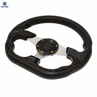 waase 320mm Universal PU Leather Racing Sports Auto Car Steering Wheel with Horn Button 12.5 inches Black