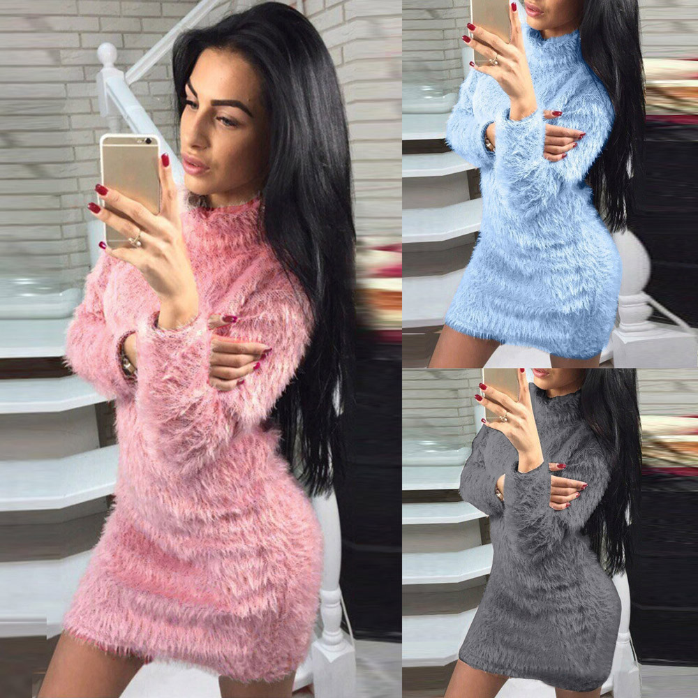 Women Fold Over Collar Long Sleeve Winter Sweater Slim Warp Mini Dresses Wool Plush Chic Simple Solid Sky Blue Pink Gray