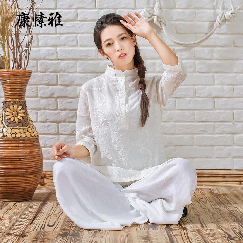 ФОТО Cotton Shirt Linen Pants Zen Meditation Clothing Woman Sportswear Set Large Size Gym Yoga Suit Shirt Pants Tracksuit Yoga Set