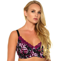 2014 Women Bra Black Colour Printing Floral Unlined Push Up Cup 36DD 44DD Size Cheap Price