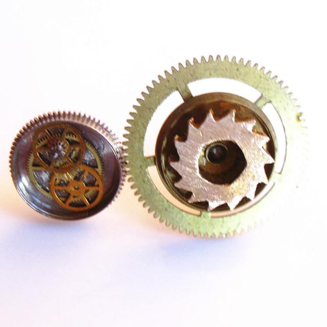 Creative Asymmetric Gear Wheel Shaped Metal Steampunk Stud Earrings