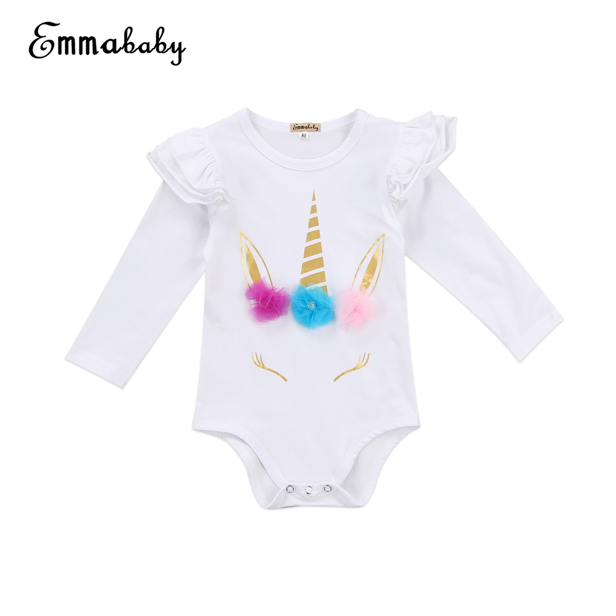 9-18Month Christmas Infant Baby Girl Clothes Unicorn Romper Floral Jumpsuit Xmas Clothing Outfits