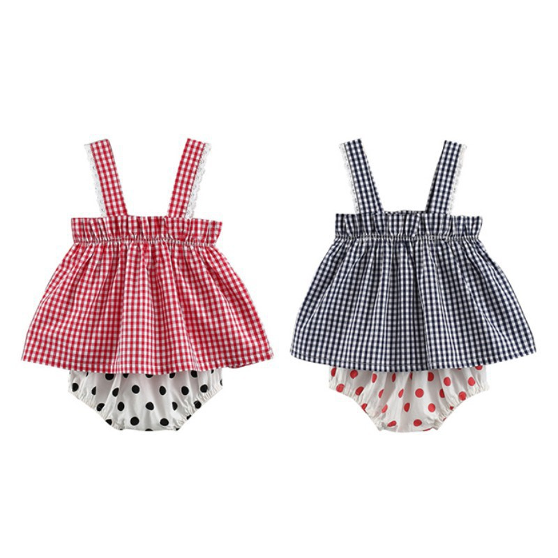 Newborn Baby Girl Clothes Set Summer Plaid Shirt + Printing Big PP Shorts Set Fashion Baby Girl Clothes Set