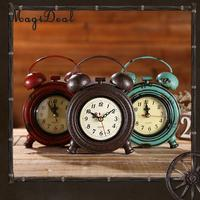 MagiDeal Old Industrial Wall Clock Desk Clock Home Decoration Ornament Photo Prop Battery Powered