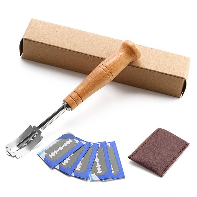 パンカッター 1 セットフレンチ Toas カッター台所用品木製ハンドルベーキングアクセサリー西洋スタイルアーク湾曲したトーストナイフ -