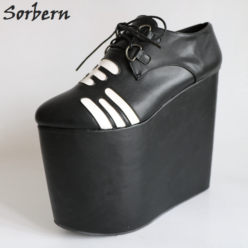 Sorbern Black Pointed Toe Super High Heel Wedges Thick Platform Ladies Shoes Lace-Up Patched Custom Colors Fetish High Heel Shoe