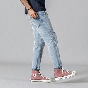 Image 5 - SIMWOOD 2020 printemps nouveau déchiré jean hommes mode bleu clair cheville longueur trou denim pantalon grande taille marque vêtements 190348