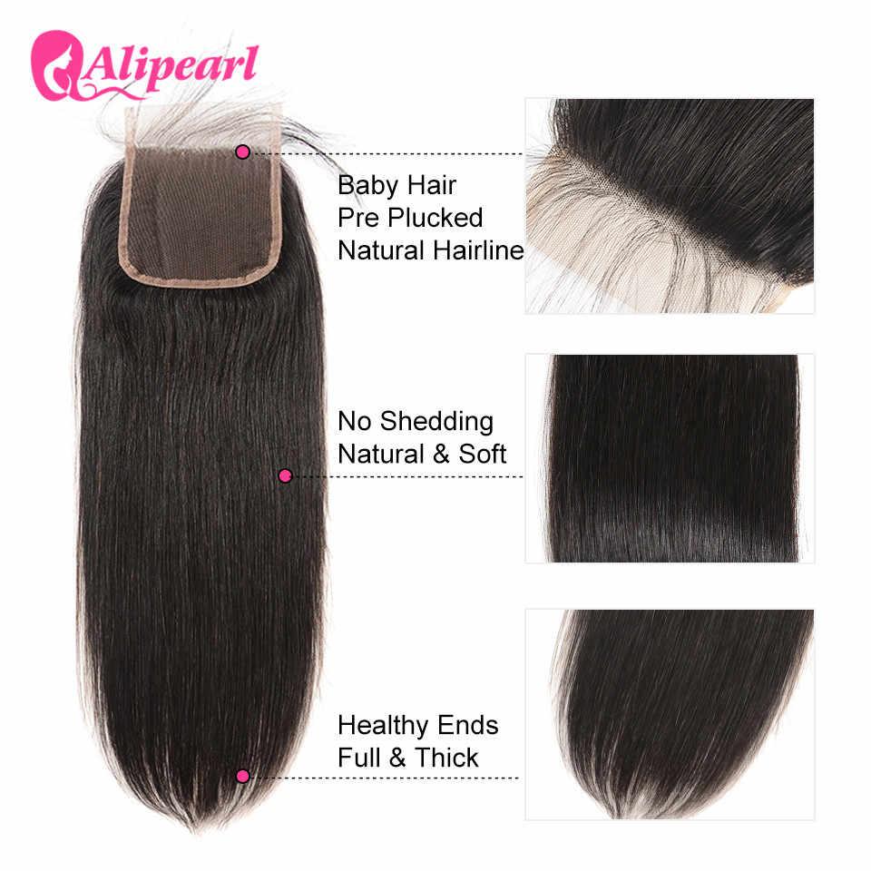 5X5 бразильские прямые человеческие волосы с закрытием для волос, бесплатная часть швейцарского кружева Remy натуральные волосы alipearl