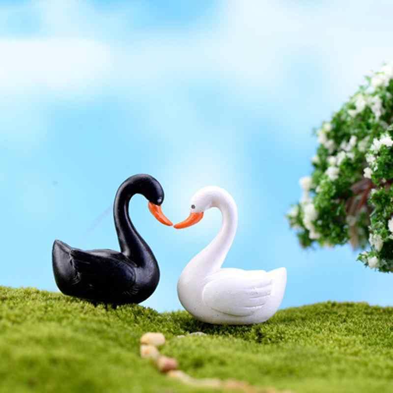 White Black Swan Garden Doll House Ornament Miniature Figurine Plant Pot Fairy Garden Decor