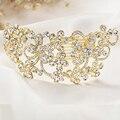 Mujeres Crystal Rhinestone Peinetas Accesorios Para el Cabello Joyas Chapado En Oro Fecha de la Fiesta De Boda Discotecas Pageant Peinetas