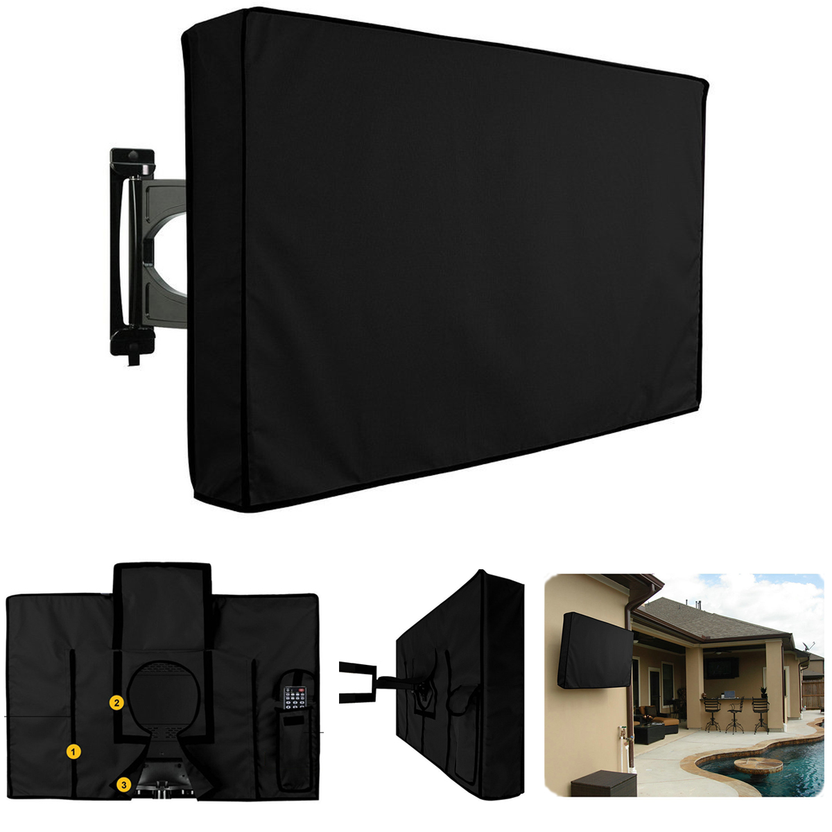 46'' Inch Waterproof Dust Resistant TV Cover Outdoor Dustproof LCD Television Protector Black