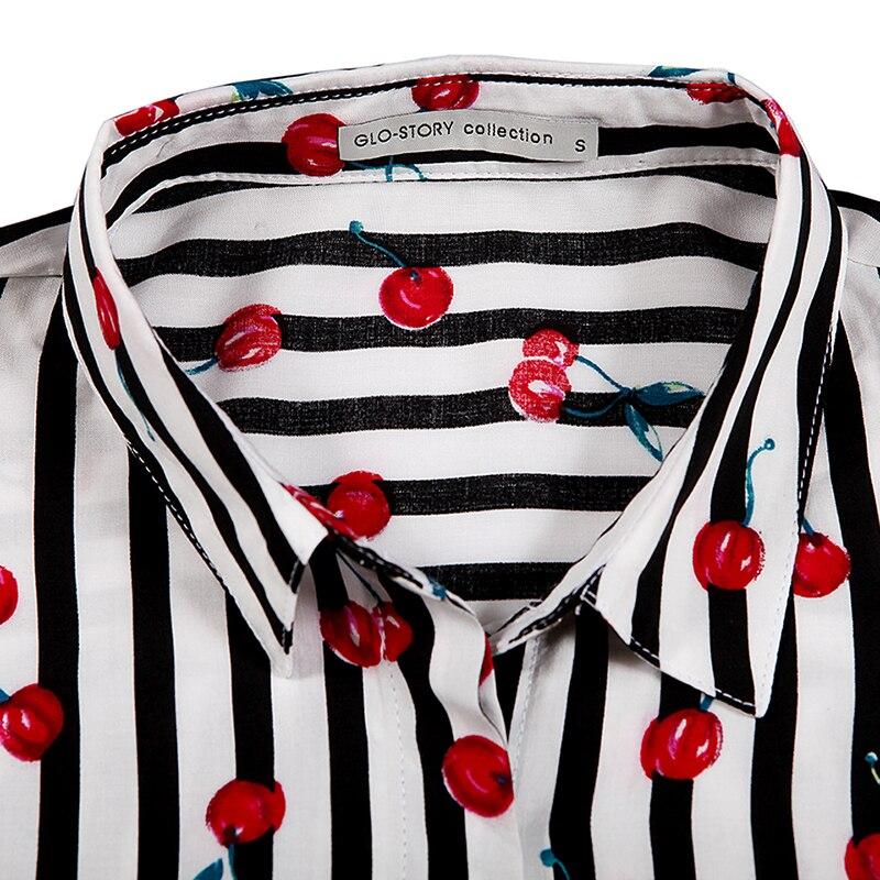 Casual Collar Tops Cereza blue Glo Black Moda Estilo Wcs Blusa Camisas Mujer De story Europeo 2019 8014 Rayas wxBz0RUpx