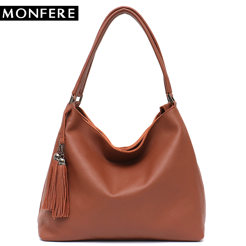 MONFERE Luxury Brand Soft Leather Bag Tote Handbags for Women Fashion Casual Large Double Zippers Tassel Shoulder&Cross Body Bag 2018 new women fashion genuine cow leather luxury ol style handbags female brand shoulder bag casual tote cross body bag