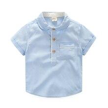 Baby Boys Shirts High-end Short Sleeve Breathable Cotton Camisa Menino Clothing Summer Casual White Pink Camisa Infantil Menino