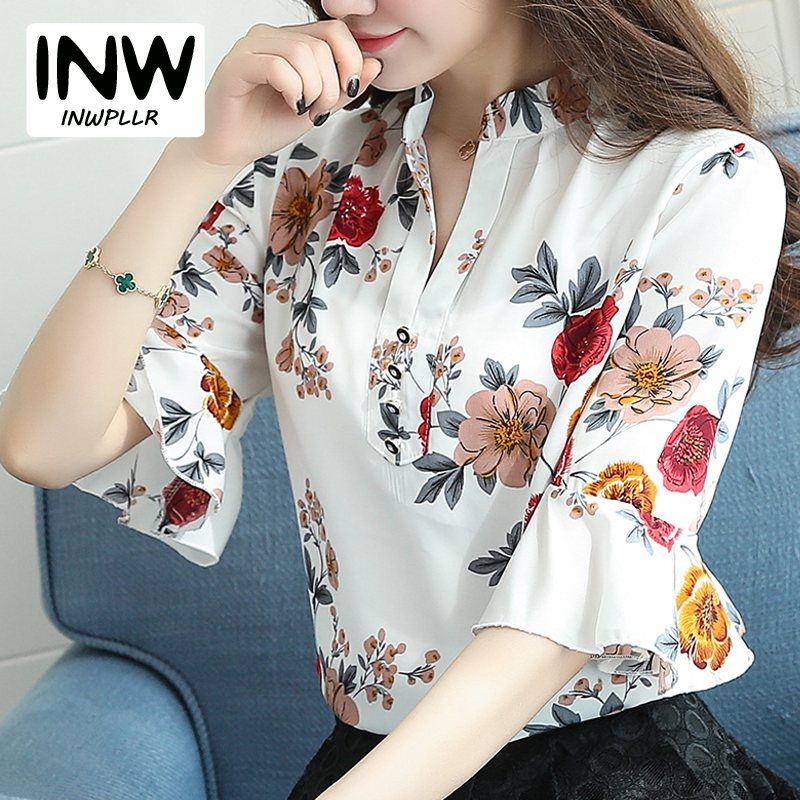 Blusas femeninas 2018 nueva blusa de gasa de moda para