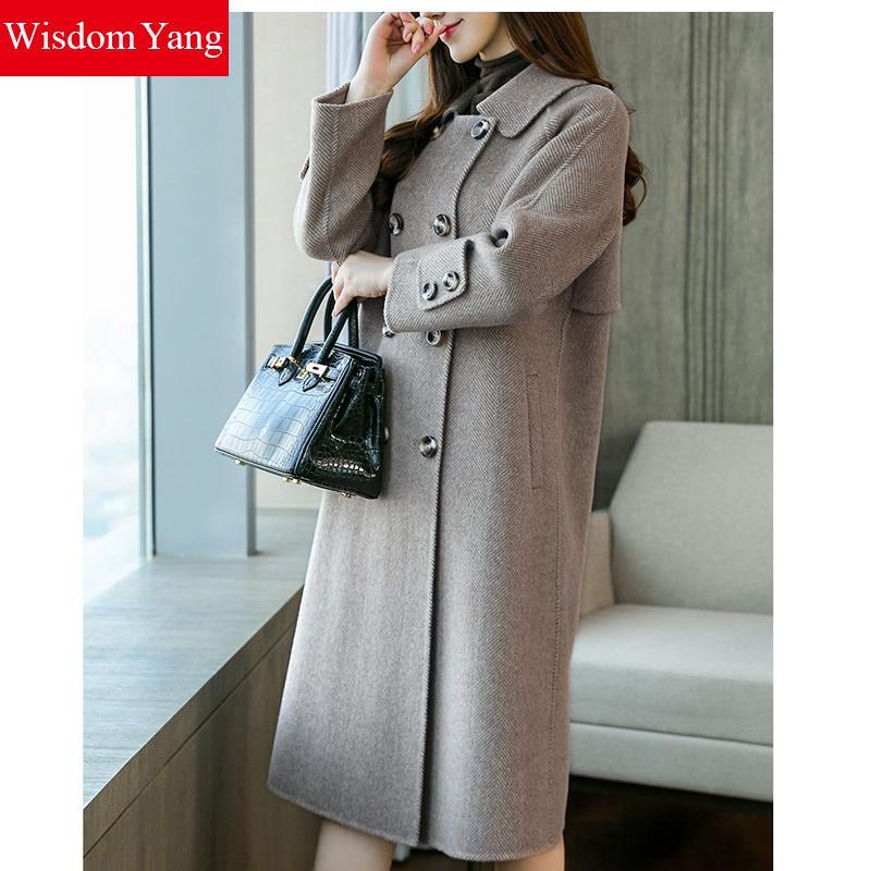 2018 Femme Survêtement Bureau Élégant Gray De Manteau Manteaux Femelle khaki Femmes Dames Mince Laine D'hiver Coat Gris Coat Xlong Pardessus Kaki Chaud 00wqB7g