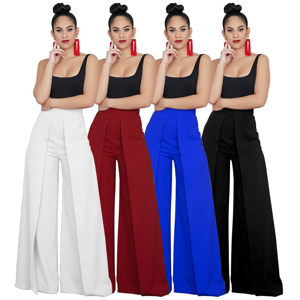 2019 Fashion Autumn   Wide     Leg     Pants   Women High Waist Pleated Loose Palazzo   Pants   Elegant Office Ladies Trousers Outfits 4 Colors
