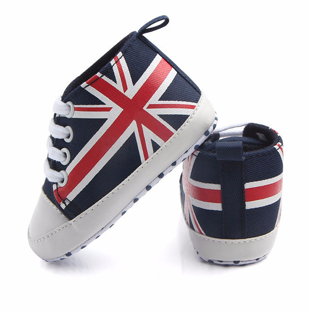 c3433f31f 2018 baby shoes First Walkers Newborn Infant Baby Union Jack Flag Print  Canvas Anti-slip Soft Shoes Sneaker for Baby Kids XM40