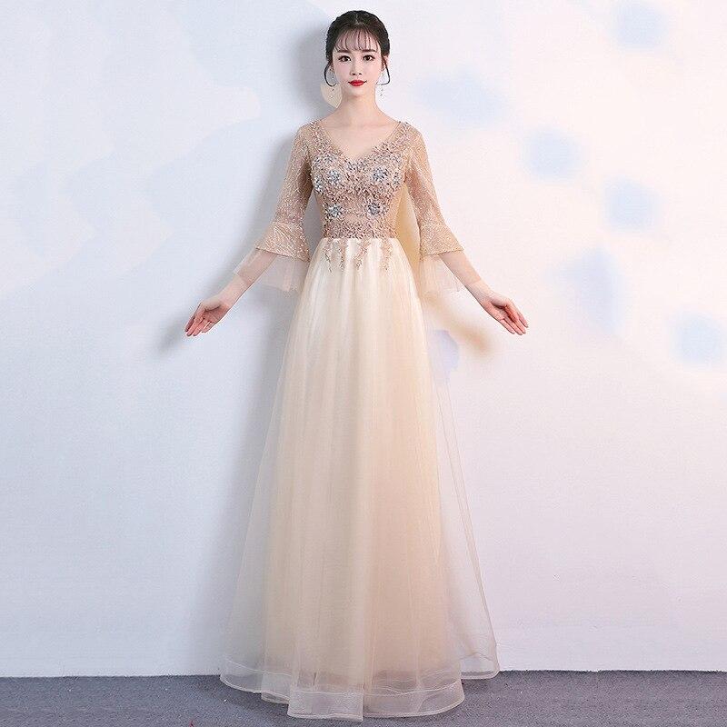 Host Evening Dress 2019 New V-neck Sleeve Long Evening Dress Slim Bride Wedding Bridesmaid Dress