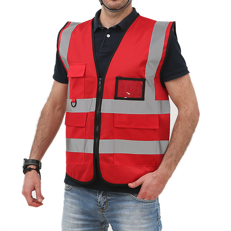 Reflective Safety Clothing Workwear Reflective T-shirt Traffic Police Work Vest Zipper Reflective Top Multi-pocket Design