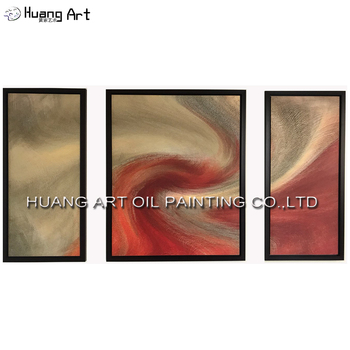 Handmade Abstract Spiral Oil Painting on Canvas by Skill Painter Contemporary Red Group of Oil Pictures for Hotel Home Wall Art