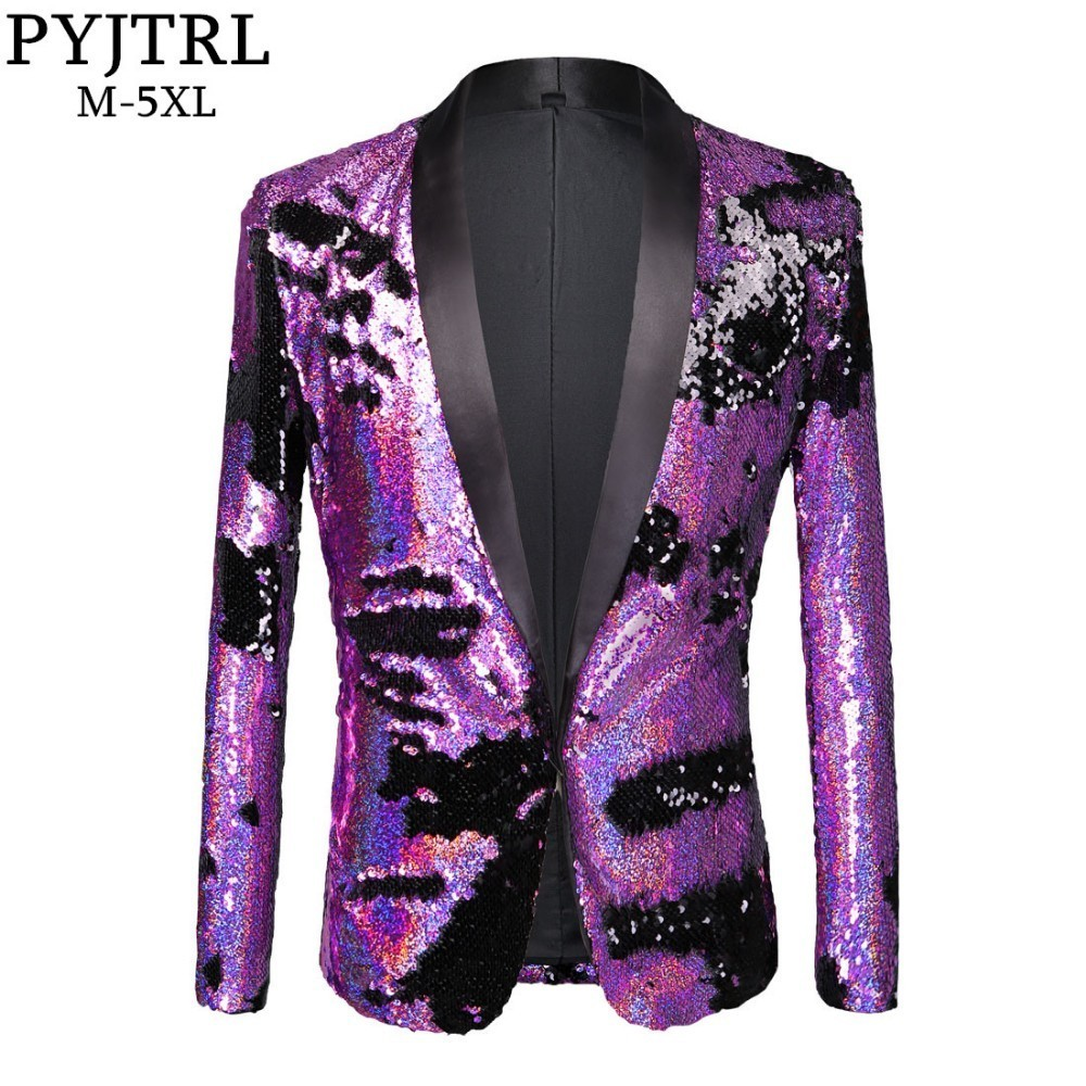 PYJTRL marée hommes Double couleur violet noir or blanc paillettes Blazer mode Punk discothèque Bar DJ chanteurs costume veste Costumes
