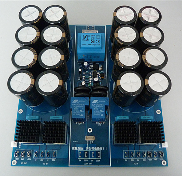Class a power amplifier DIY soft start rectifier filter integrated board without capacitors power audio 4channels amplifier blue board amplifier with 3300uf capacitors