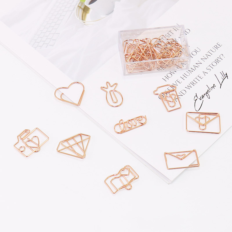 TUTU 18pcs/box Kawaii Mix 9 Style Of Rose Gold Paper Clips Bookmark Metal Binder Paper Clip Bookmark Office Statioinery H0269