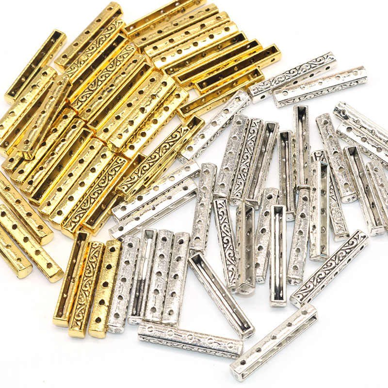 30pcs/lot Metal Needlework Charms Sliver Golden three direct links Connectors 3 Hole Spacer Beads Diy for Jewelry Making 26MM