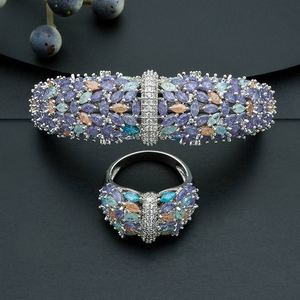 Image 3 - ModemAngel Delicate Shiny Flowers AAA Cubic Zirconia Copper Saudi Dubai Jewerly Sets For Wome Dracelets Dangles Ring Wedding