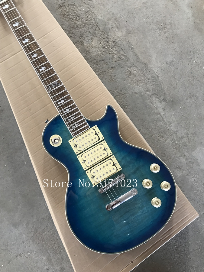 100% Real Pictures Ace Frehley Signature LP Eletric Guitars In Vintage Blue Flame Finish In Stock Free Shipping ace frehley signature 3 pickups aged vintage cherry sunburst electric guitar free shipping