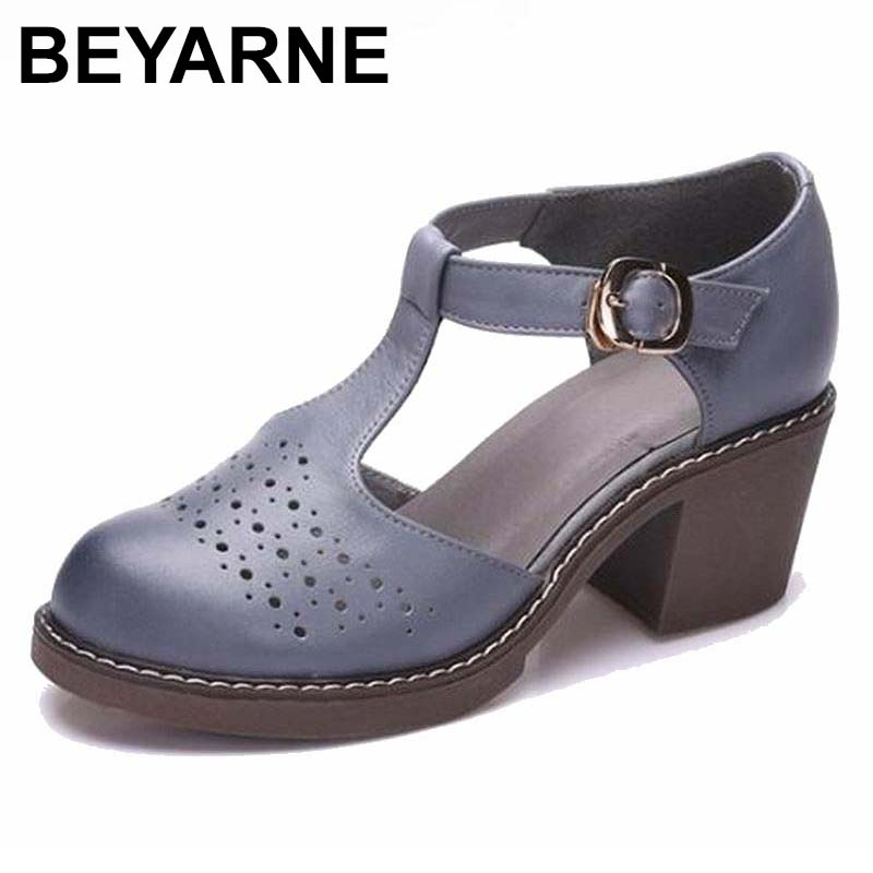 BEYARNE New Thick with Sandals Female Summer Round Toe Buckle Roman Shoes Solid Color Med-heeled Women Sandals
